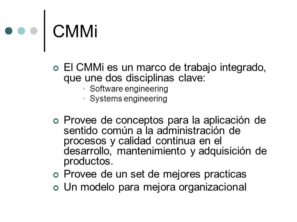 CMMi El CMMi es un marco de trabajo integrado, que une dos disciplinas clave: Software engineering.
