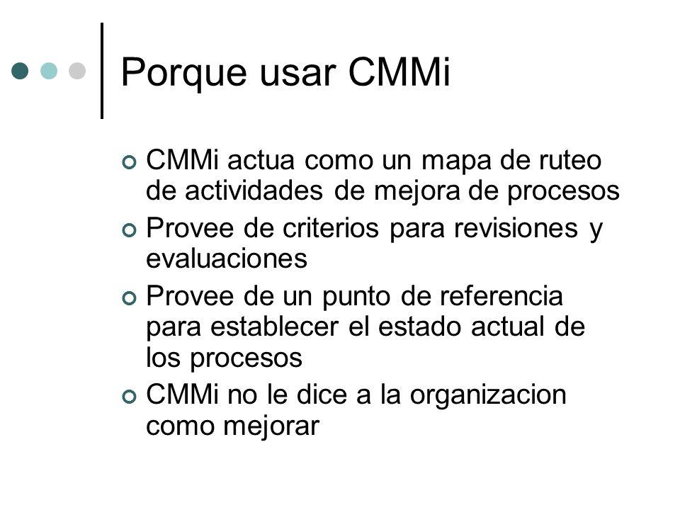 Porque usar CMMi CMMi actua como un mapa de ruteo de actividades de mejora de procesos. Provee de criterios para revisiones y evaluaciones.