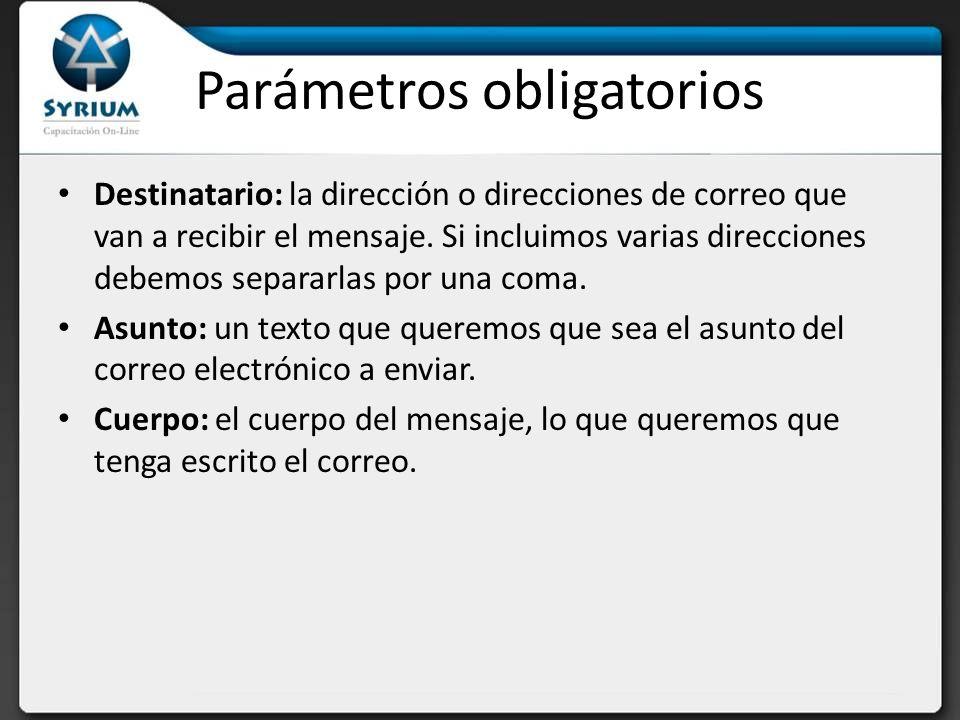 Parámetros obligatorios