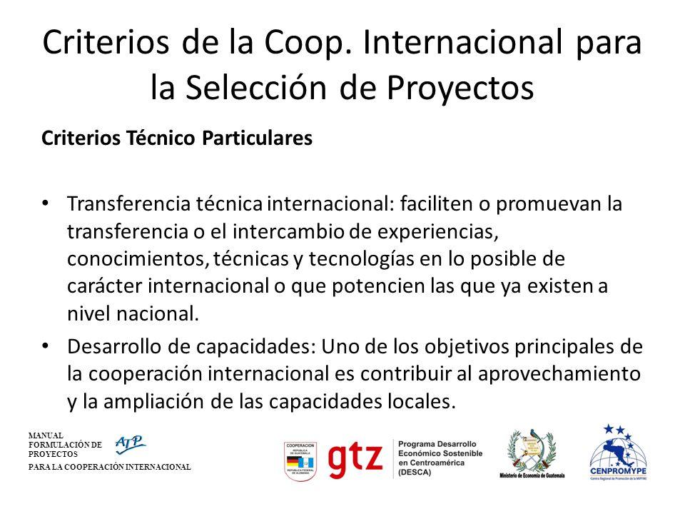 Criterios de la Coop. Internacional para la Selección de Proyectos