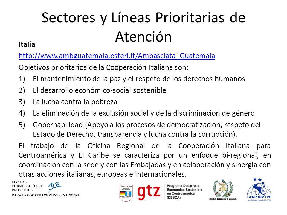 Sectores y Líneas Prioritarias de Atención