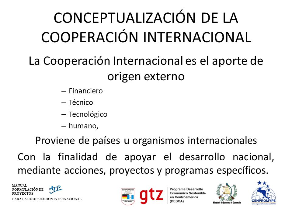 CONCEPTUALIZACIÓN DE LA COOPERACIÓN INTERNACIONAL