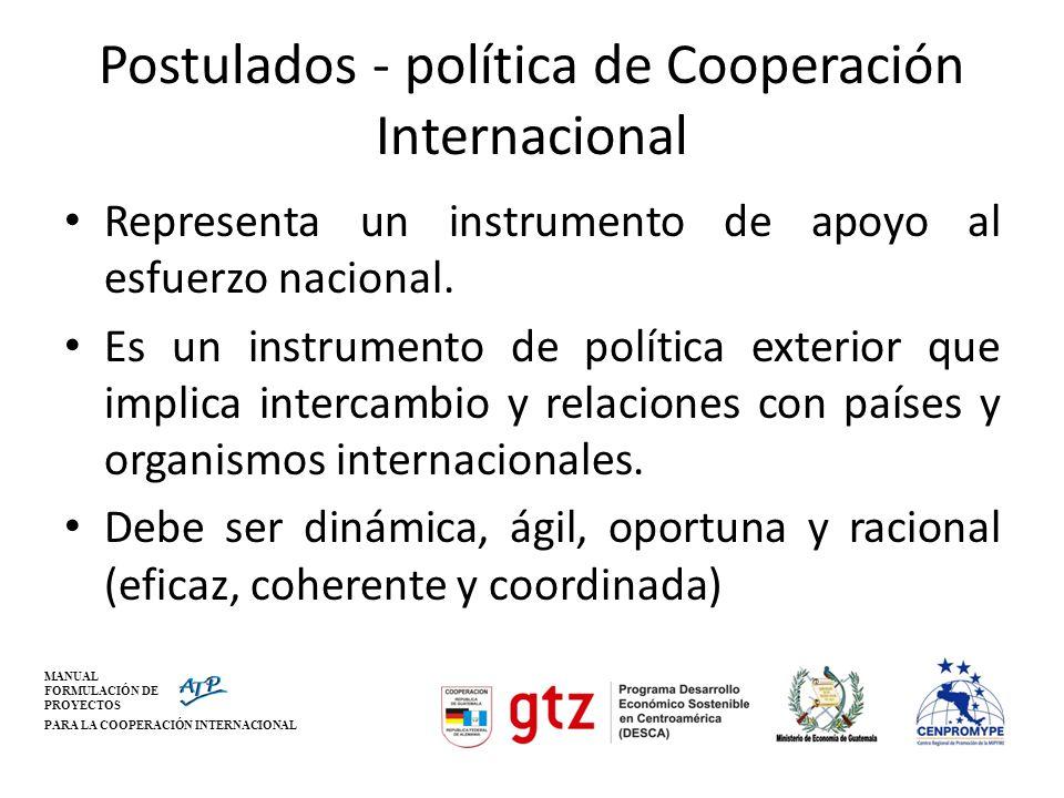 Postulados - política de Cooperación Internacional