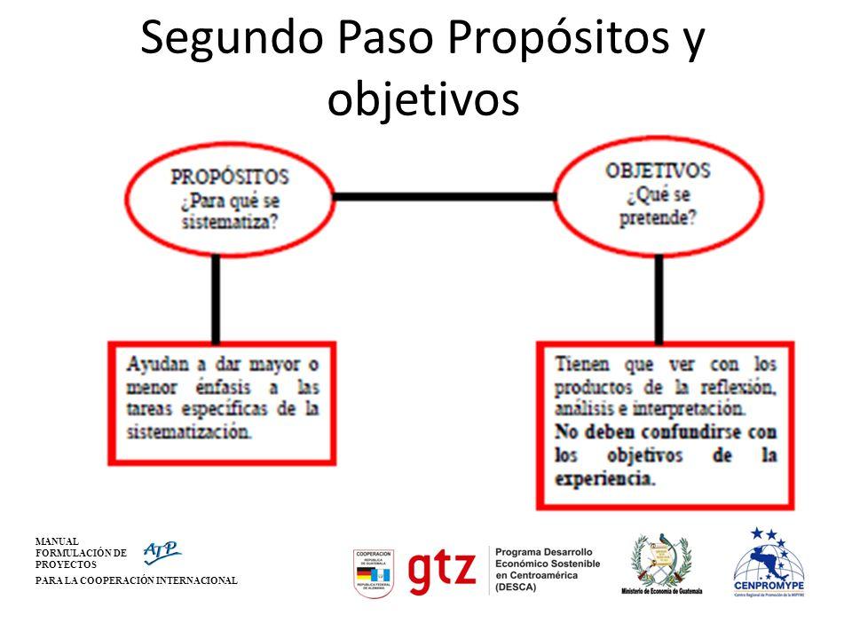 Segundo Paso Propósitos y objetivos