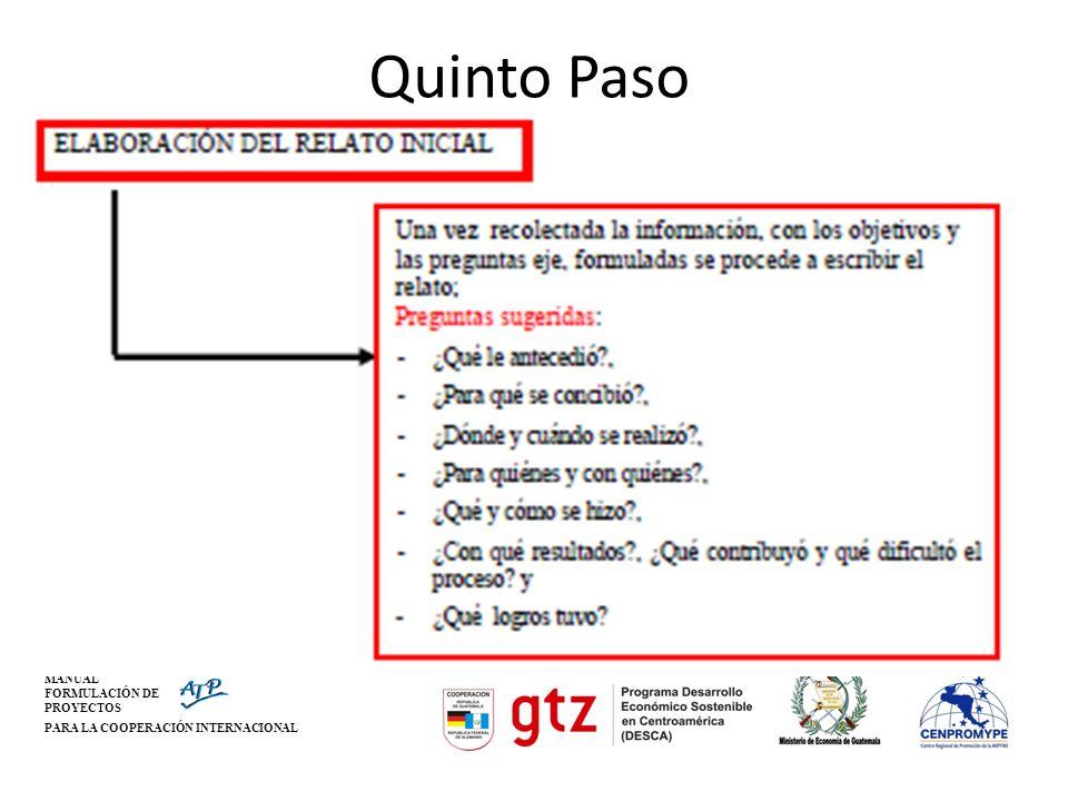 Quinto Paso MANUAL FORMULACIÓN DE PROYECTOS