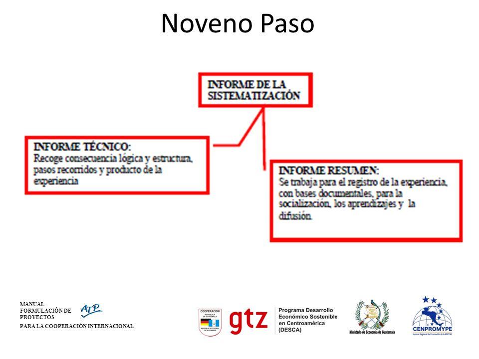 Noveno Paso MANUAL FORMULACIÓN DE PROYECTOS