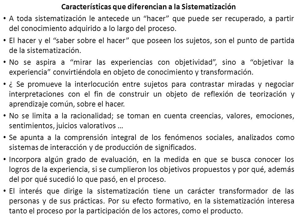 Características que diferencian a la Sistematización