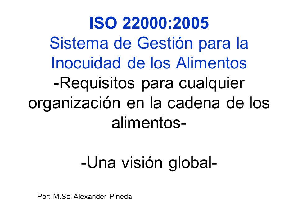 ISO 22000:2005 Sistema de Gestión para la Inocuidad de los Alimentos -Requisitos para cualquier organización en la cadena de los alimentos- -Una visión global-