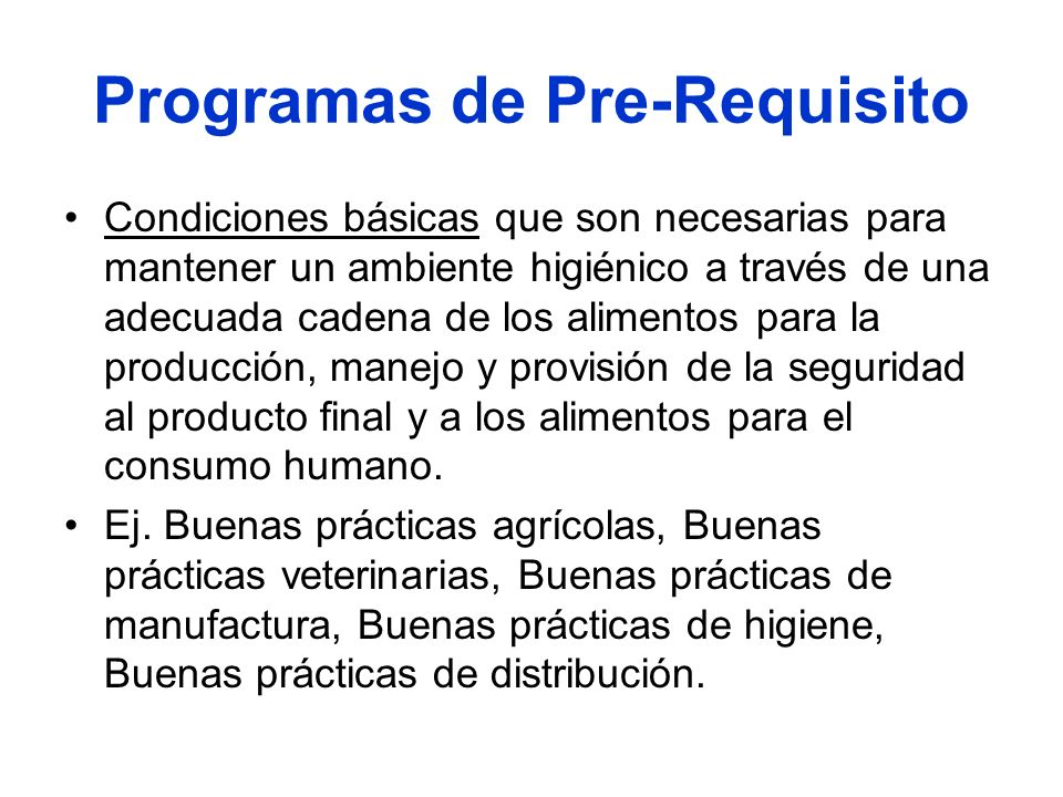 Programas de Pre-Requisito