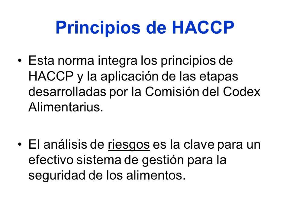 Principios de HACCP Esta norma integra los principios de HACCP y la aplicación de las etapas desarrolladas por la Comisión del Codex Alimentarius.