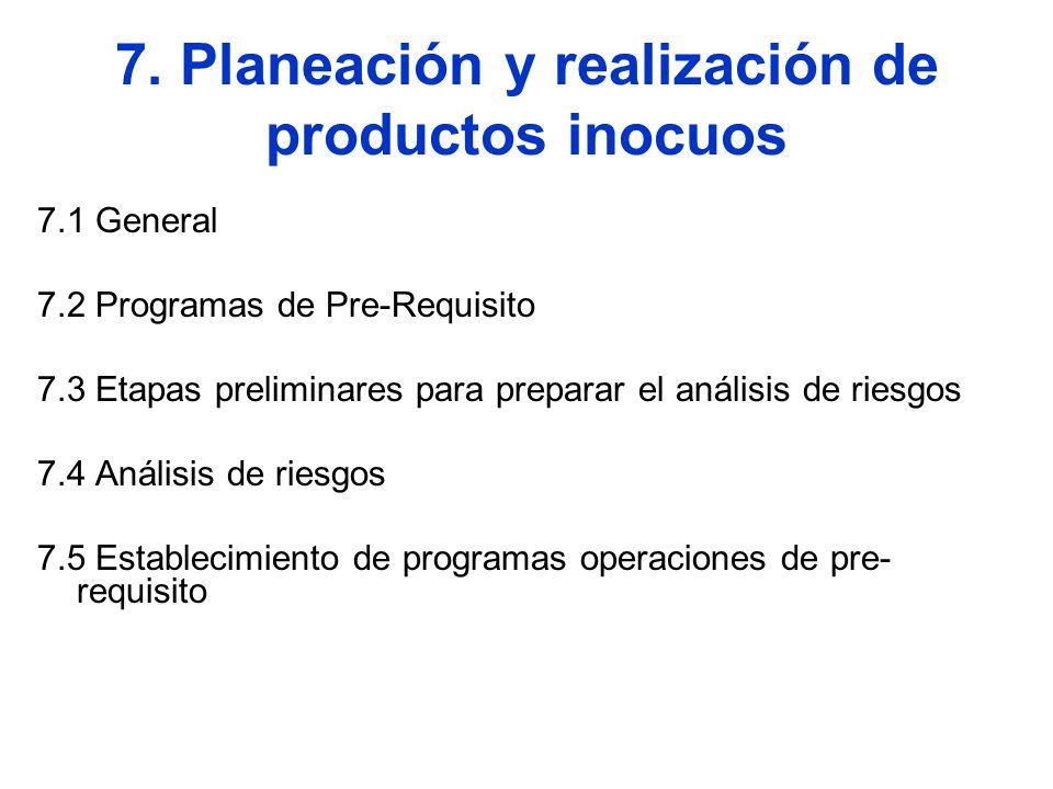 7. Planeación y realización de productos inocuos