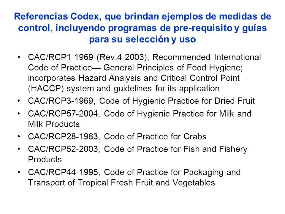 Referencias Codex, que brindan ejemplos de medidas de control, incluyendo programas de pre-requisito y guías para su selección y uso