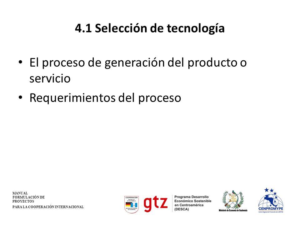 4.1 Selección de tecnología