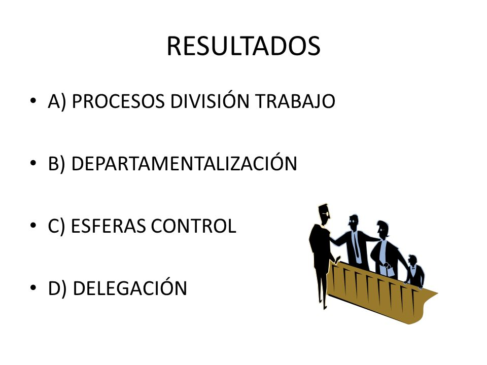 RESULTADOS A) PROCESOS DIVISIÓN TRABAJO B) DEPARTAMENTALIZACIÓN