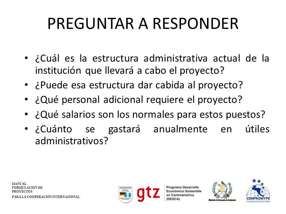 PREGUNTAR A RESPONDER ¿Cuál es la estructura administrativa actual de la institución que llevará a cabo el proyecto