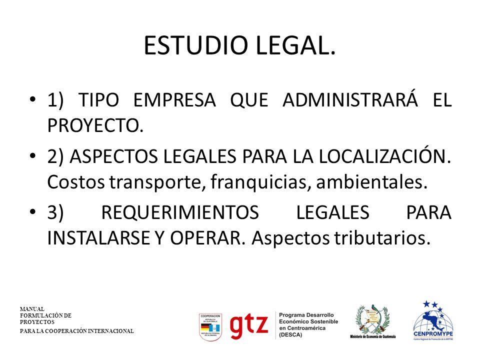 ESTUDIO LEGAL. 1) TIPO EMPRESA QUE ADMINISTRARÁ EL PROYECTO.