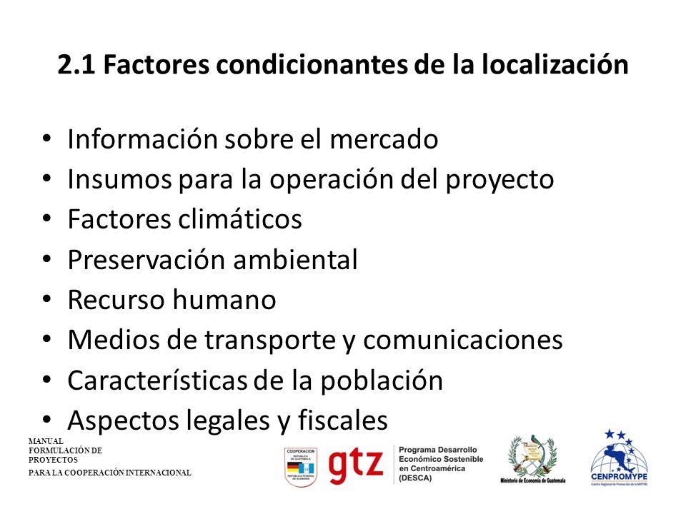 2.1 Factores condicionantes de la localización
