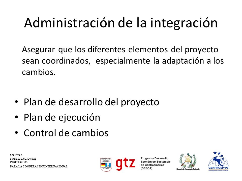 Administración de la integración