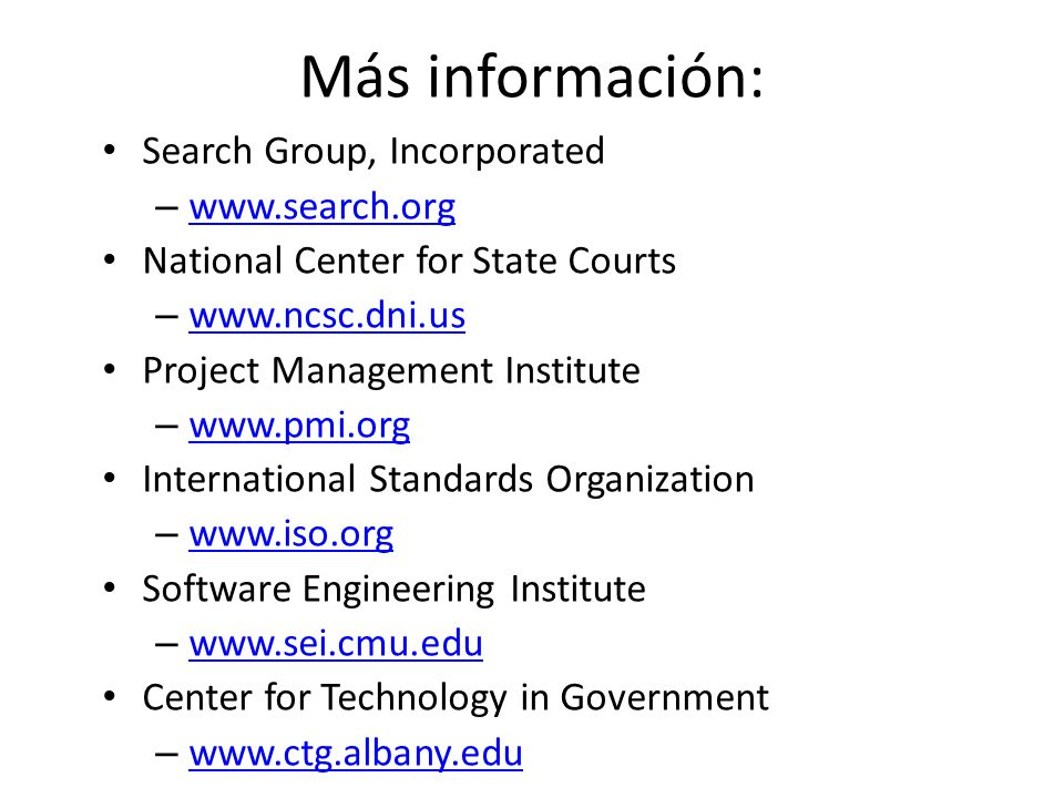 Más información: Search Group, Incorporated www.search.org
