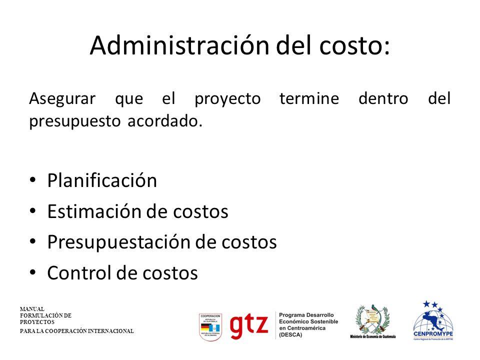 Administración del costo: