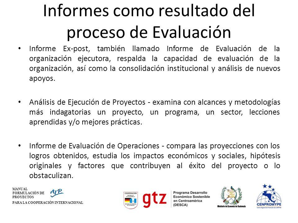 Informes como resultado del proceso de Evaluación