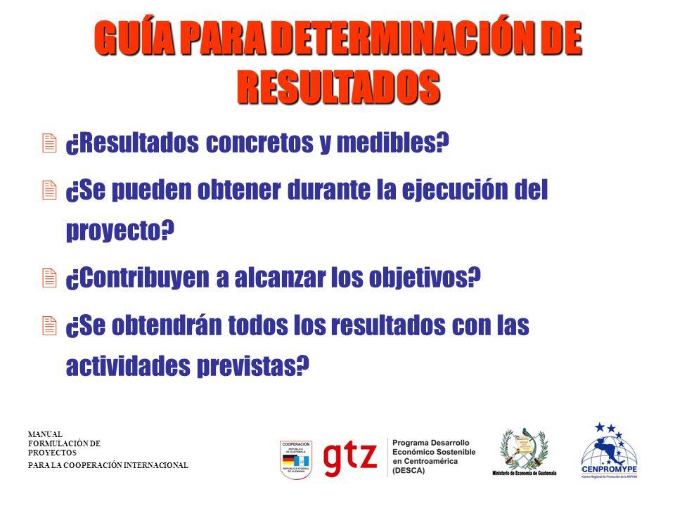 GUÍA PARA DETERMINACIÓN DE RESULTADOS