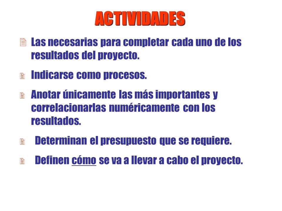 ACTIVIDADESLas necesarias para completar cada uno de los resultados del proyecto. Indicarse como procesos.