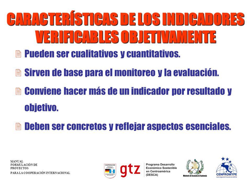 CARACTERÍSTICAS DE LOS INDICADORES VERIFICABLES OBJETIVAMENTE