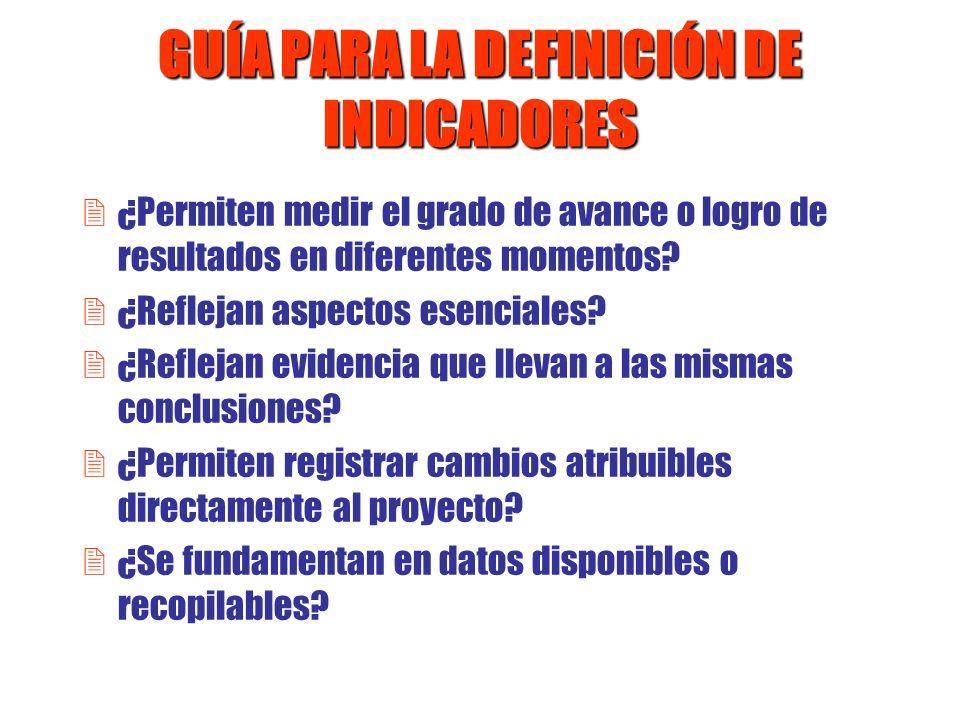 GUÍA PARA LA DEFINICIÓN DE INDICADORES