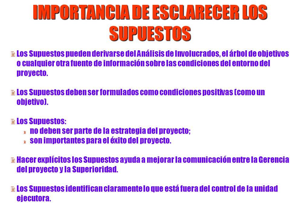 IMPORTANCIA DE ESCLARECER LOS SUPUESTOS