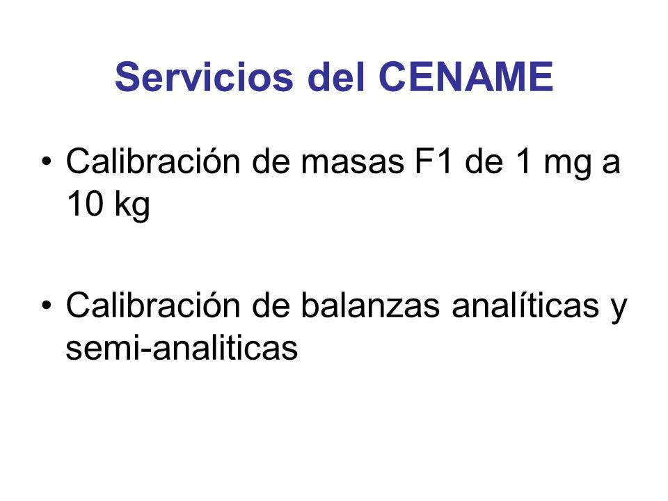 Servicios del CENAME Calibración de masas F1 de 1 mg a 10 kg