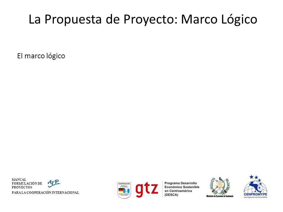 La Propuesta de Proyecto: Marco Lógico