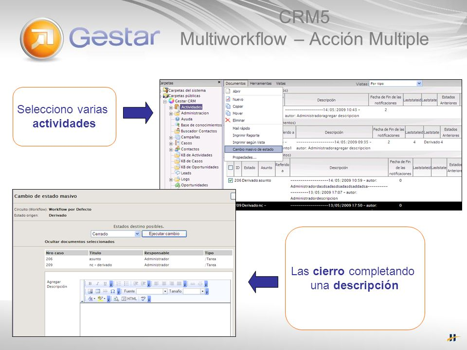 CRM5 Multiworkflow – Acción Multiple