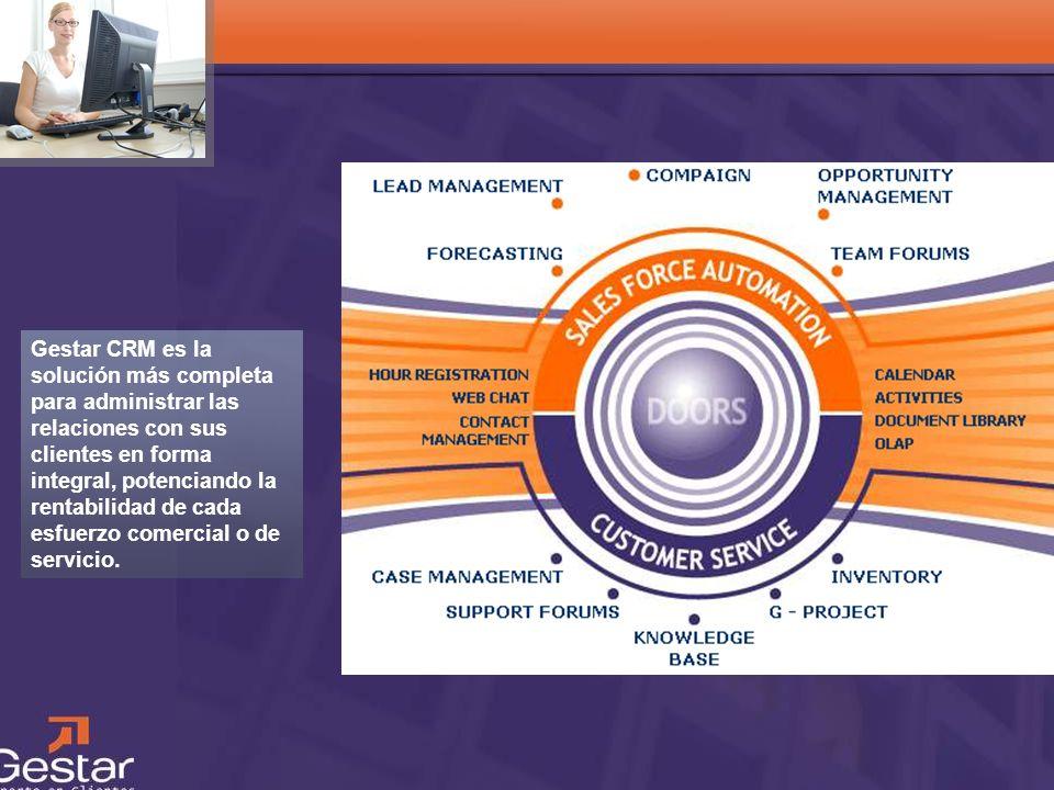 Gestar CRM es la solución más completa para administrar las relaciones con sus clientes en forma integral, potenciando la rentabilidad de cada esfuerzo comercial o de servicio.