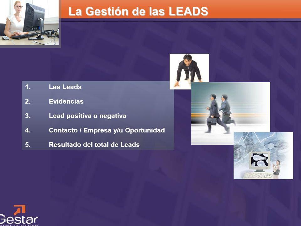 La Gestión de las LEADS Las Leads Evidencias Lead positiva o negativa