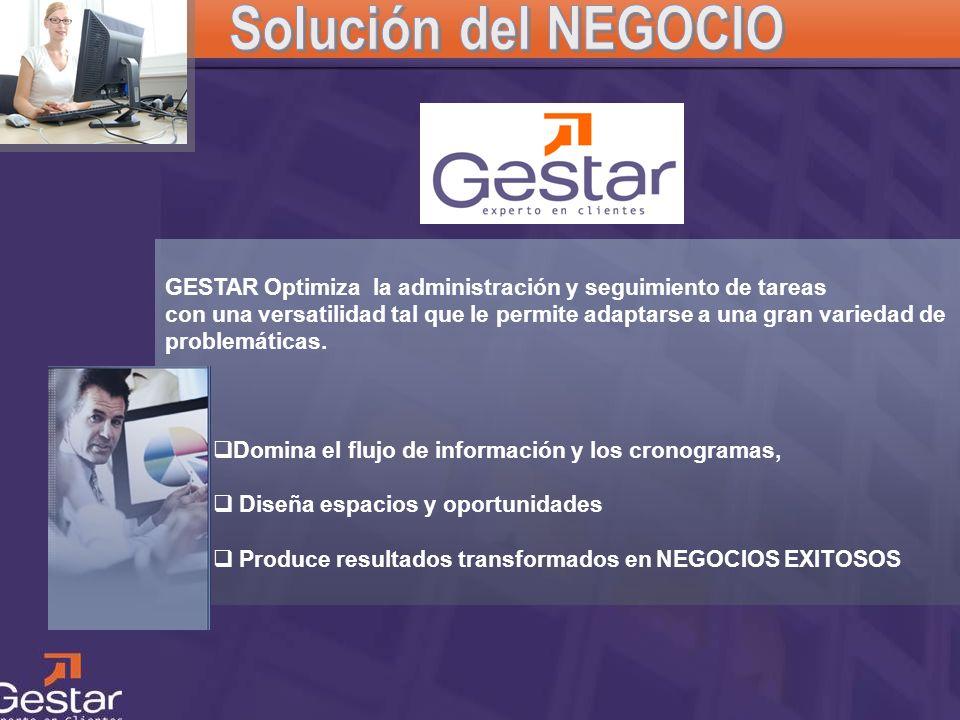 Solución del NEGOCIOGESTAR Optimiza la administración y seguimiento de tareas.