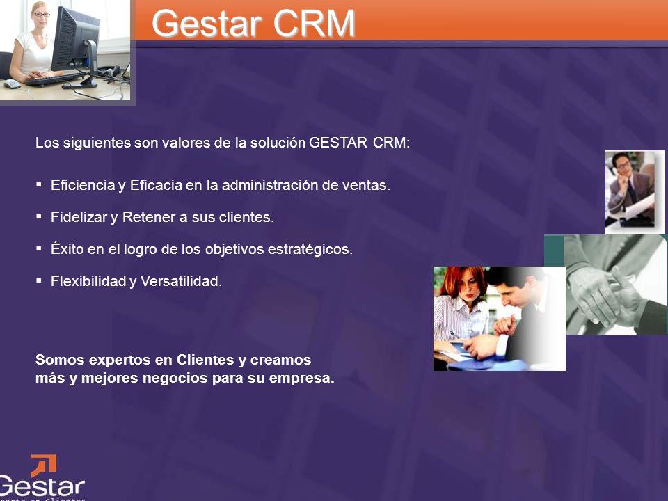 Gestar CRM Los siguientes son valores de la solución GESTAR CRM: