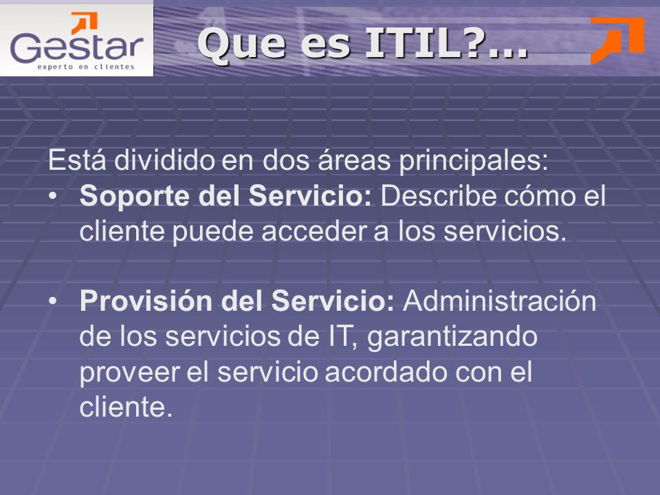 Que es ITIL ... Está dividido en dos áreas principales: