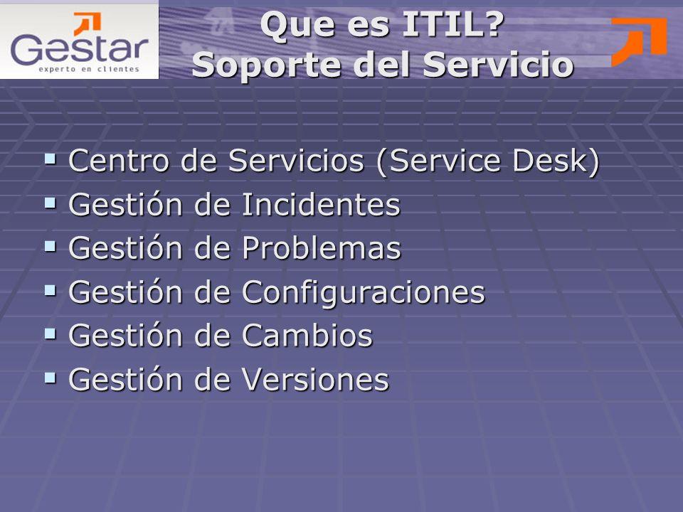 Que es ITIL Soporte del Servicio