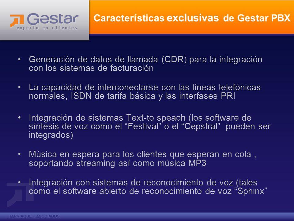 Características exclusivas de Gestar PBX