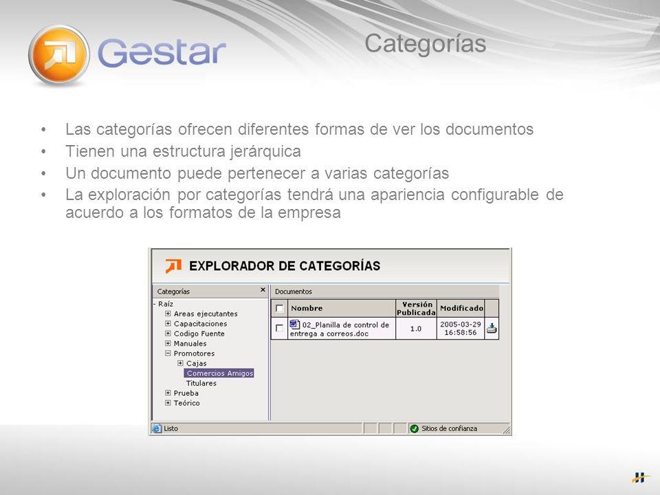 Categorías Las categorías ofrecen diferentes formas de ver los documentos. Tienen una estructura jerárquica.