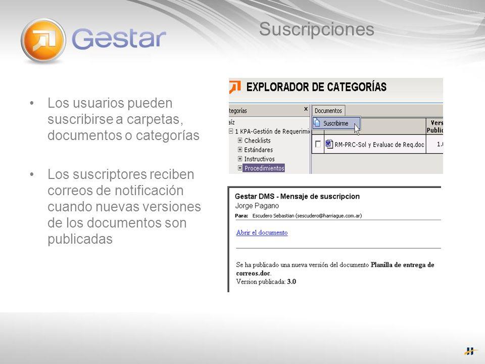 SuscripcionesLos usuarios pueden suscribirse a carpetas, documentos o categorías.