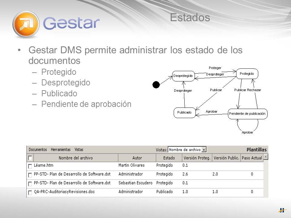 Estados Gestar DMS permite administrar los estado de los documentos