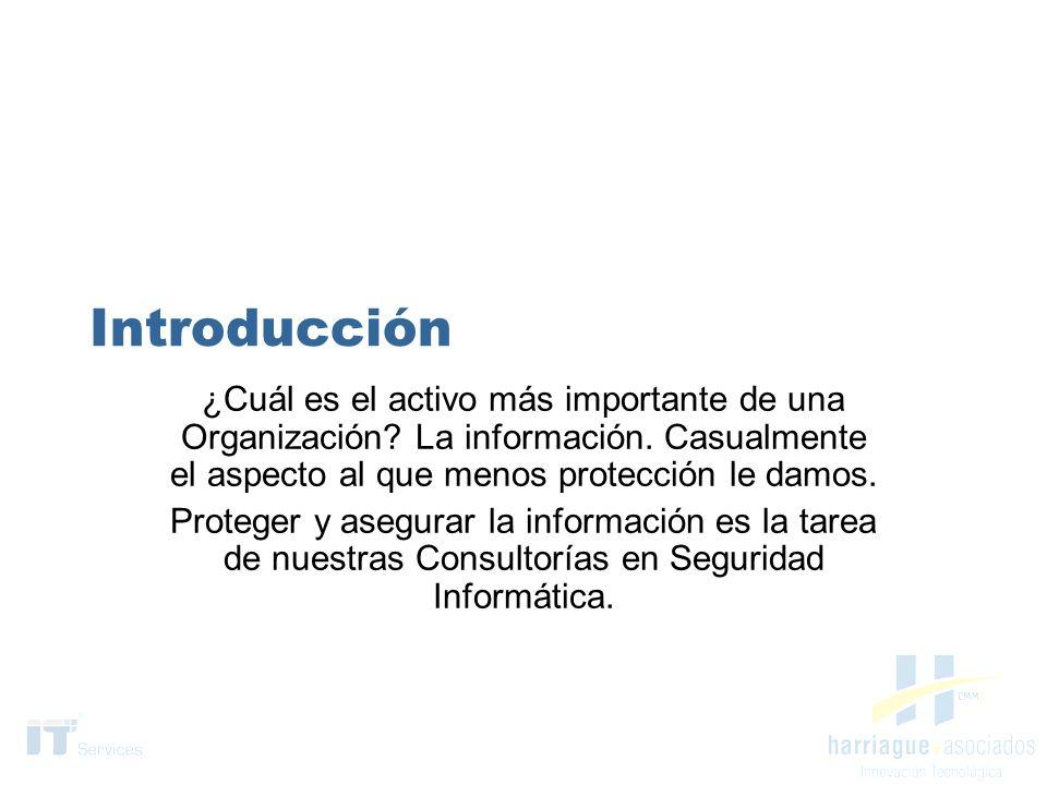 Introducción ¿Cuál es el activo más importante de una Organización La información. Casualmente el aspecto al que menos protección le damos.