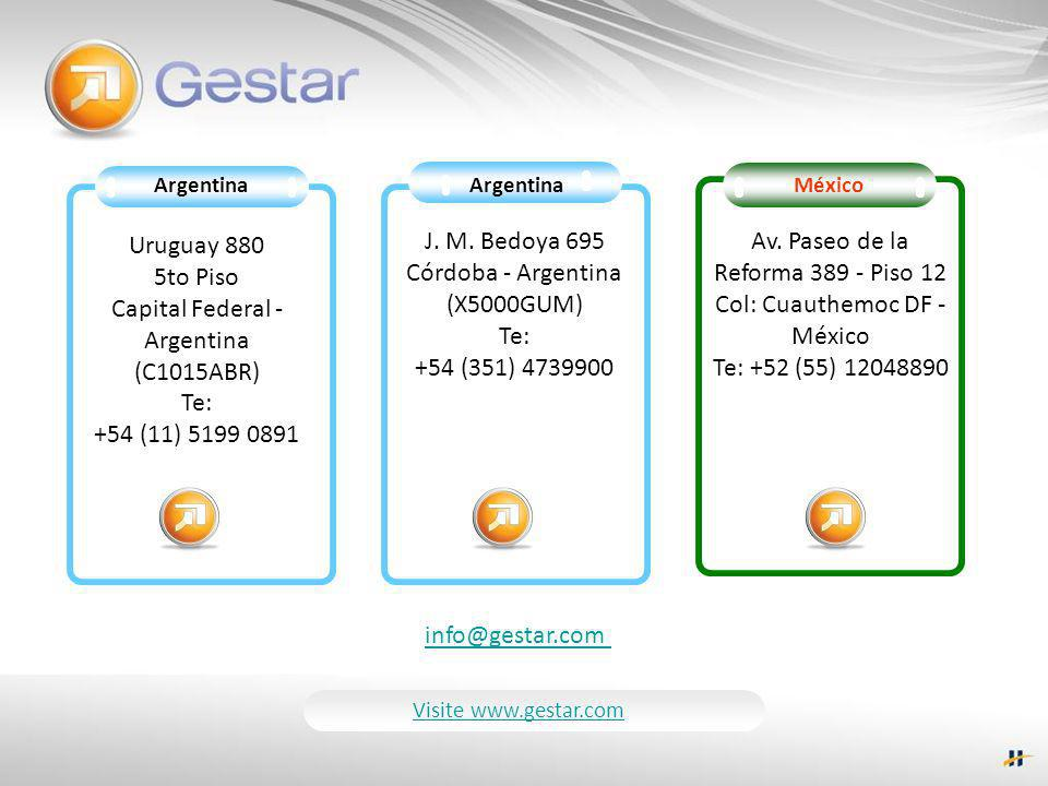 J. M. Bedoya 695 Córdoba - Argentina (X5000GUM) Te: +54 (351) 4739900