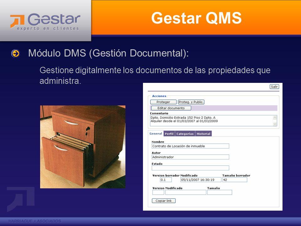 Gestar QMSMódulo DMS (Gestión Documental): Gestione digitalmente los documentos de las propiedades que administra.