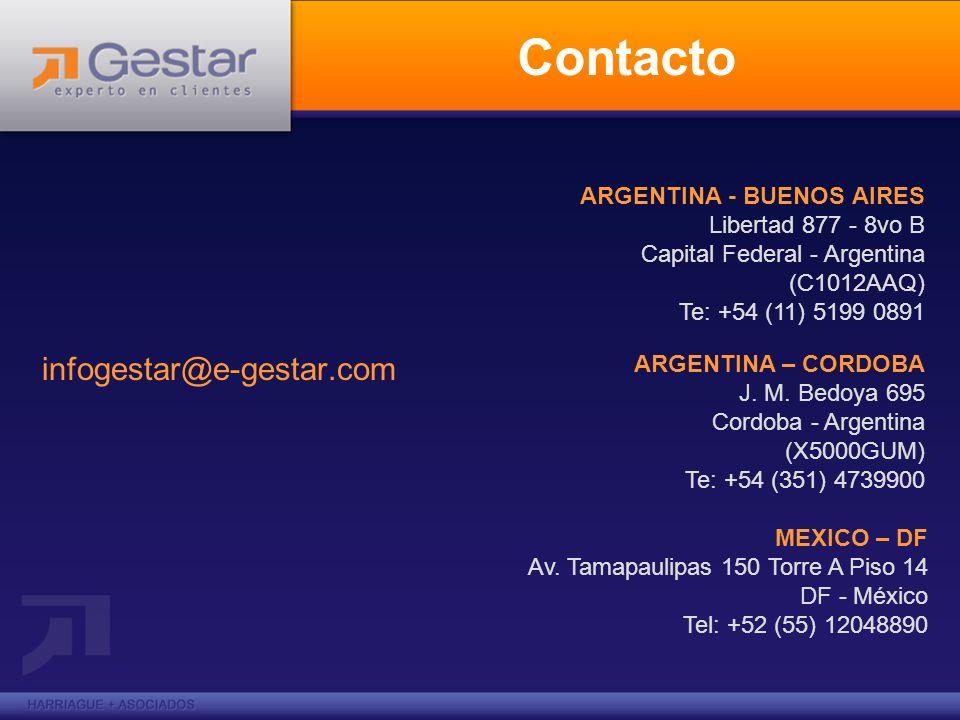 Contacto infogestar@e-gestar.com ARGENTINA - BUENOS AIRES