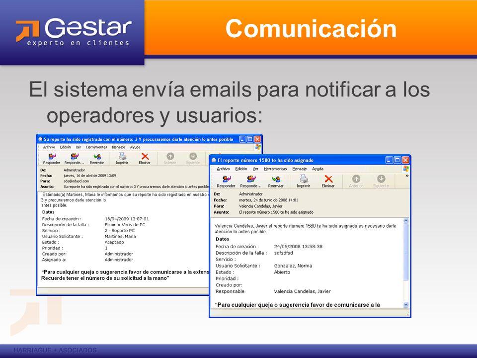 Comunicación El sistema envía emails para notificar a los operadores y usuarios: