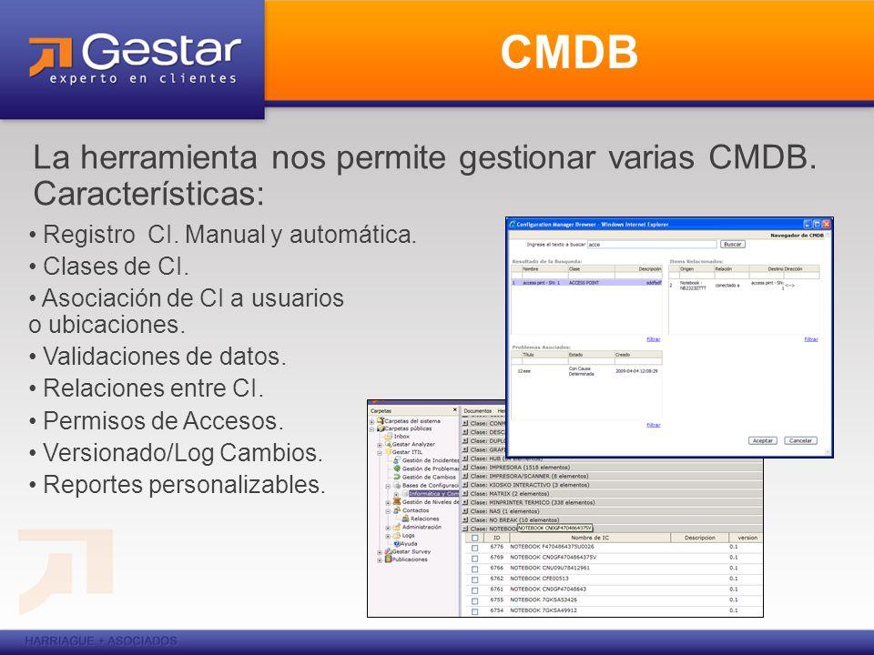 CMDB La herramienta nos permite gestionar varias CMDB. Características: Registro CI. Manual y automática.