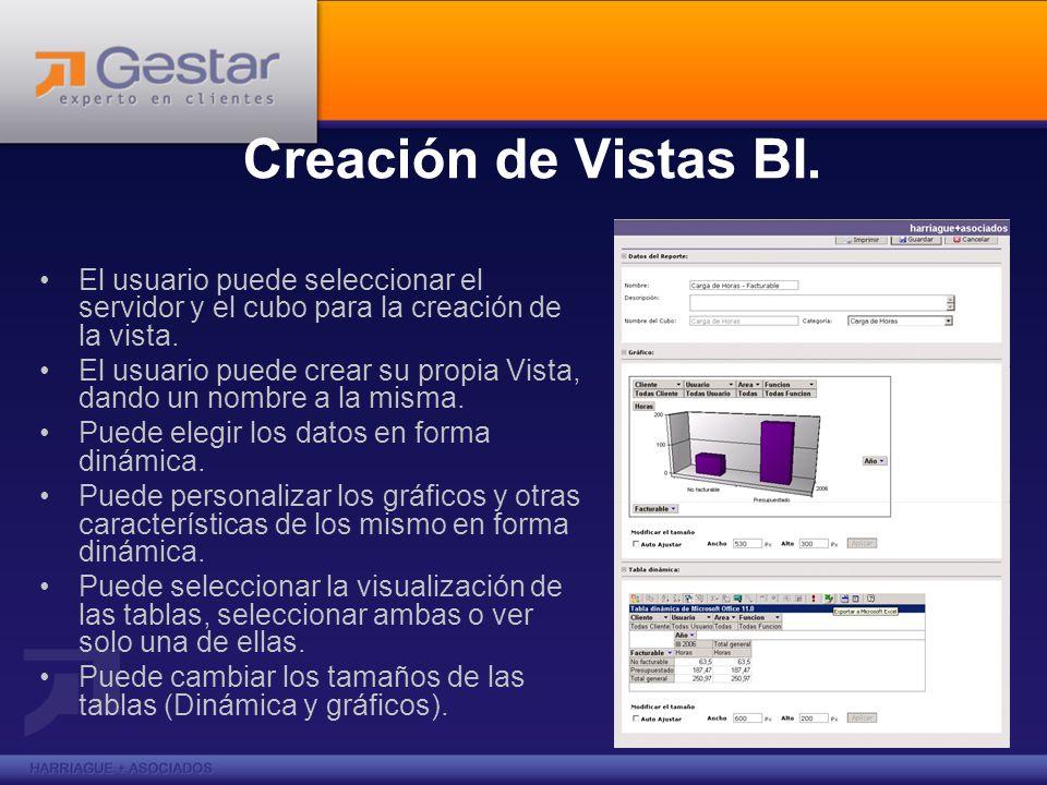 Creación de Vistas BI. El usuario puede seleccionar el servidor y el cubo para la creación de la vista.